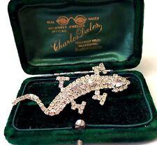 Vintage Rhinestone Crystal Lizard Salamander Brooch Pin