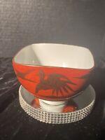 "Japanese "" Kutani "" Porcelain Rice Bowl / "" Eiraku"" Red Ground with Gilt Cranes"