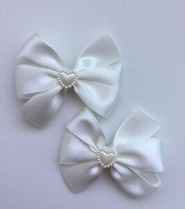 """2 Wedding Flower Girls Christening 2"""" Girls Ivory Hair Bow Clips Pearl Heart"""