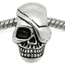 Skull Skeleton Head Halloween Spacer Bead for Silver European Charm Bracelets
