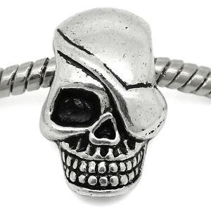 Skull Skeleton Head Halloween Spacer Charm for European Bead Slide Bracelets