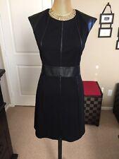 "Bailey 44 Black ""Caged Bird"" Faux Leather Trim Dress Size L NWT Retail 218.00"