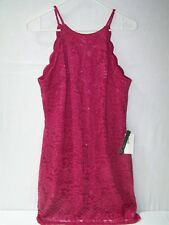 BCX Wine Laced Dress Floral Glitter Size 13 Sleeveless NWT