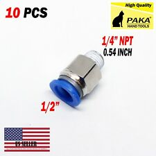 "10 Male Straight Connector Tube Od 1/2"" (12mm) X Npt 1/4 Pu Air Push In Fitting"