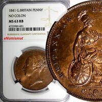 GREAT BRITAIN Victoria Copper 1841 1 Penny NGC MS63 RB NO COLON SCARCE KM# 739