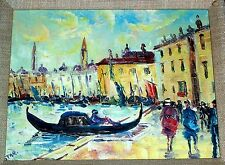 Vintage Impressionist Cityscape Painting , Yellow , Oil on Canvas Signed Star.
