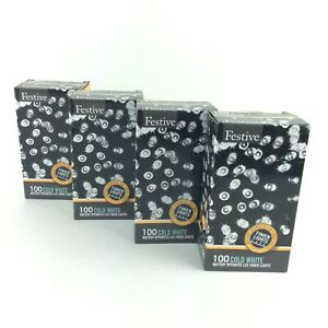 Festive 100 Cold White LED String Lights Battery Operated With Timer 4 Boxes