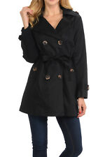 Auliné Collection Women's Fashion Double Breasted Trench Coat Jacket with Belt