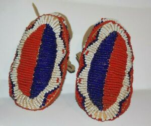 Plains Indian Fully Beaded Child's Doll Leather Moccasins Native American Mini 3