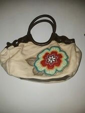 Relic Brand FLOWER APPLIQUE Canvas Bag Fossil purse tote handbag navy red combo