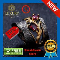 Natural Rhodolite Garnet Solid 925 Sterling Silver Handmade Branch Ring