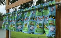 Handcrafted Valance Sewn From John Deere Baby Farm Nursery Blue & Green Fabric