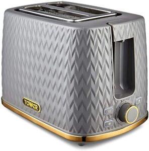 Tower Empire Grey 2 Slice Toaster Geometric Pattern Design Brass Accents Reheat