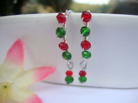 Christmas Earrings Artisan Wire Silver USA HANDMADE Crystal Red Green Beads
