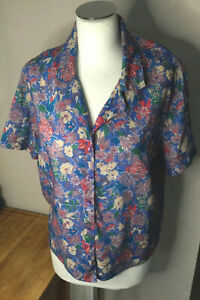 Vintage Floral Viyella Wool Challis Pitlochry blouse Purple Blues classic uk16