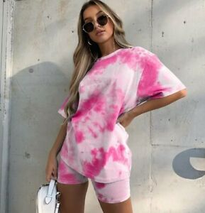 Neon Pink White Tie Dye T Tee Shirt Cycling Shorts Co Ord Casual Lounge Set 14