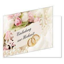 25 Stück Einladungskarten zur Hochzeit DIN A6 Einladungen Ringe Rosen (EKT-103)