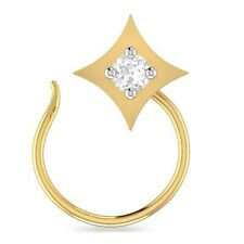 14K Yellow Gold Over Round Cubic Zirconia Solitaire Nose Pin Ring Everyday Use