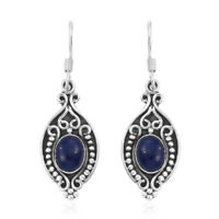 925 Sterling Silver Blue Lapis Lazuli Dangle Drop Earrings Jewelry