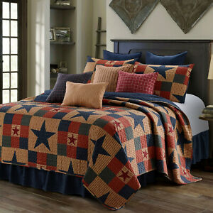MOUNTAIN CABIN BLUE STAR 3pc King QUILT SET : NINEPATCH PRIMITIVE COUNTRY