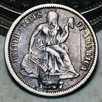 1877 Seated Liberty Dime 10c Beautiful LOVE TOKEN Good 90% Silver US Coin CC6976