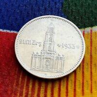 1934 G  2 Mark German Silver Coin WW2  Garrisonkirche Third Reich Reichsmark