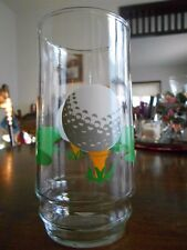 Golf 19th Hole Tee Time two (2) Tumblers Indiana Glass 16 oz. Green White Red !