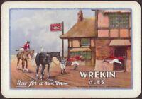 Playing Cards 1 Single Card Old Wide WREKIN Brewery ALES BEER Advertising HORSES