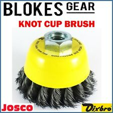 Josco Wire Cup Twist Knot Brush 75mm for 100mm Angle Grinder M10 M14 MADE IN NZ