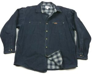 Carhartt Flannel Lined Canvas Navy Blue Snap Shirt Jacket XL S296