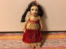 Vtg Antique Cloth Face Souvenir Doll w Black Pigtails Folk Art Wood