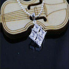 Crystal Square Pendants Necklace Wholesale Jewelry 925 Sterling Silver