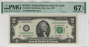2013 $2 Federal Reserve Note St. Louis Fancy Serial Number PMG SUPERB Gem 67 EPQ