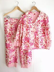 NWT JOSIE Natori Geisha Garden Cropped Pajama Set Pink Floral Size L
