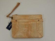 Women's Peach Snakeskin Over-sized Wristlet Accessory Clutch Purse Bag ELOQUII