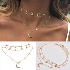 a393f02bf54b Mujeres Boho llamativa Gargantilla Collar Colgante Multicapa cristal Star  Moon de la cadena de joyería