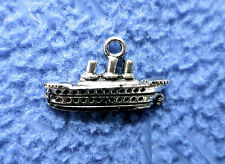"""Antique Silver Plated Cruise Ship Boat Charm Accessory 1"""" Finding"""