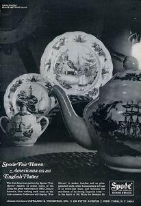 1966 Spode PRINT AD Fine English Dinnerware Americana Fair Haven Pattern
