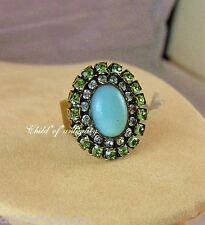 Liz Palacios Amazonite Peridot Green Blue Swarovski Crystal Cocktail Gold Ring
