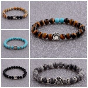 2018 Couples Bracelet Bear's Paw Beads Handmade Tiger's Eye Lava Agate Bracelets