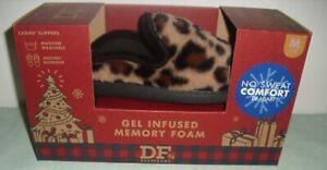 Dearfoams Gel Infused Memory Foam Slippers Ladies M 7-8 Leopard New NIB