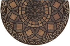Half Medallion Round Brown 23 x 35 in. Rubber Door Mat Entranceway Entry Rug
