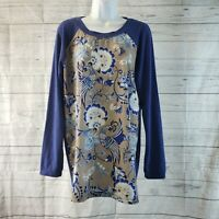 Soft Surroundings Womens Top Sz Large Blue Gray Floral Birds Long Sleeve