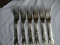 Vintage Silver Plated Kings Pattern Dinner Forks x 6 Viners Sheffield  20.5 cm