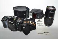 LOT Minolta MAXXUM 7000 Camera Kalimar 75-200mm Lens 2800 AF Flash