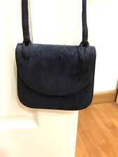 Laura Ashley Navy Blue Suede Leather Sling Bag Small Purse Flower Floral Lining