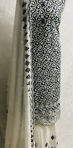 White & Navy 3 piece lawn embroidered cotton suit with embroidered Mal Mal  shaw