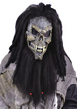 ADULT SCARY FEARSOME FACES SKULL WITH HAIR & FANGS MASK COSTUME FW8507S