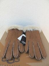 UGG CHESTNUT TOSCANA 3 POINT SUEDE SHEARLING HANDSEWN WINTER GLOVES ~ M ~ NWT