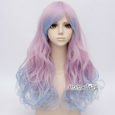 60CM Curly Blue Mixed Pink Gradient Lolita Halloween Women Cosplay Hair Wig+Cap